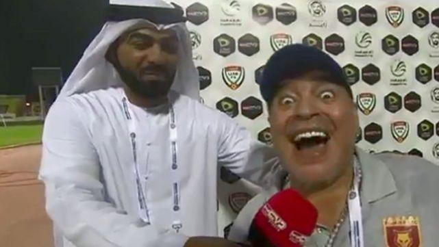 El eufórico festejo de Maradona tras gol agónico de su equipo