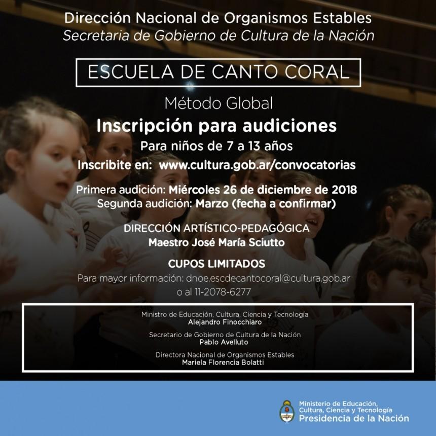 Escuela de Canto Coral  Método Global  Para niños de 7 a 13 años