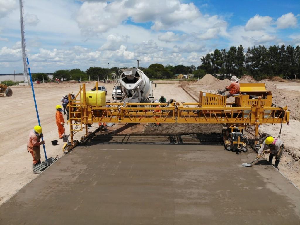 Avanza la obra de pavimentación del playón de carga y el acceso al puerto Las Palmas