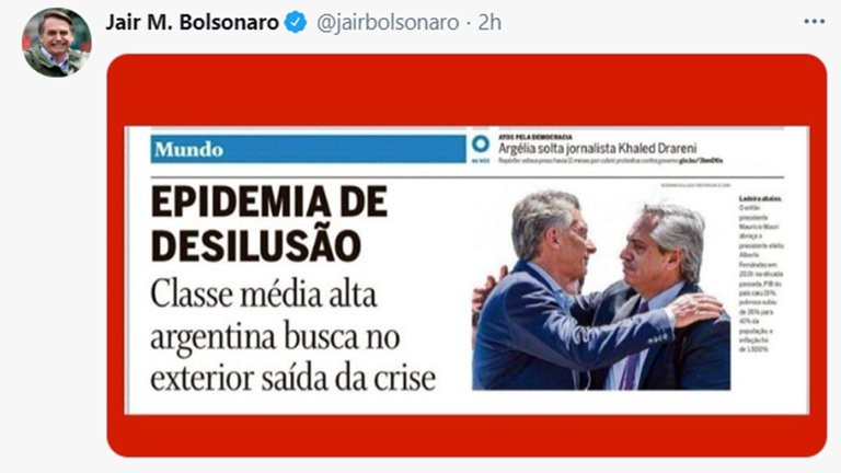 Otro duro mensaje de Jair Bolsonaro hacia el gobierno de Alberto Fernández por la situación económica y sanitaria de Argentina