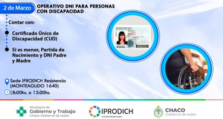 El martes IPRODICH y el ministerio de gobierno realizarán un operativo gratuito de DNI para personas con discapacidad