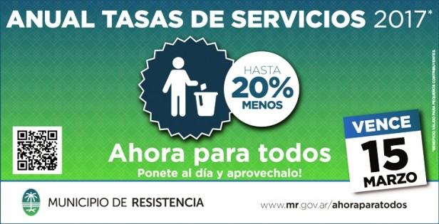 Tasas de Servicios: Hay tiempo hasta el miércoles 15 para el pago anticipado anual
