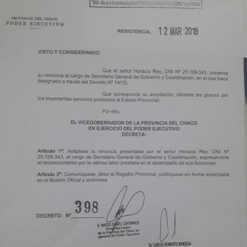 Renunció Horacio Rey