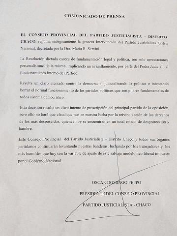 """PEPPO REPUDIÓ LA INTERVENCIÓN DEL PARTIDO JUSTICIALISTA: """"ES UN ATENTADO CONTRA LA DEMOCRACIA"""""""