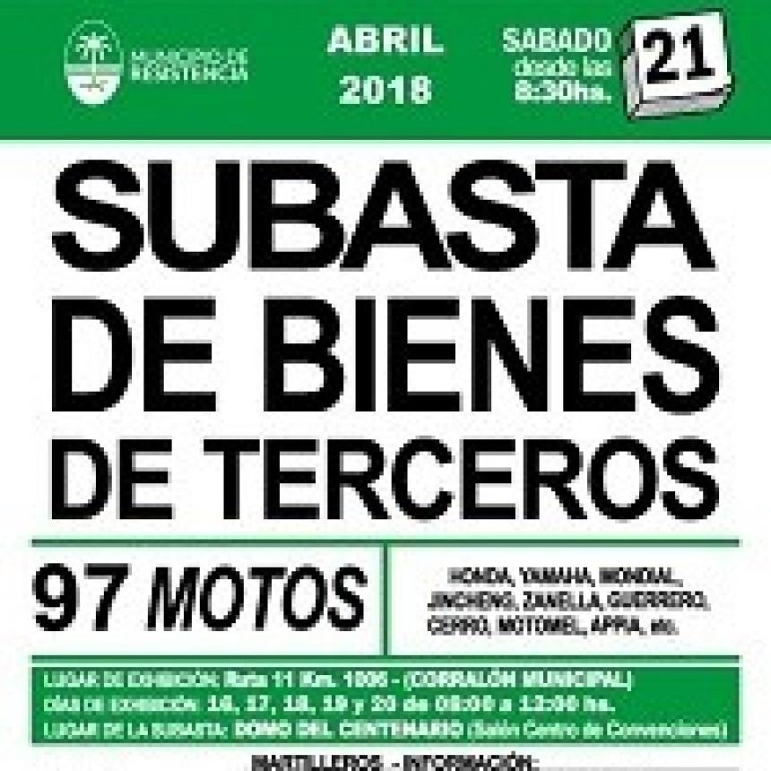 Sábado 21, el Municipio realiza una gran subasta de motocicletas en el Domo del Centenario
