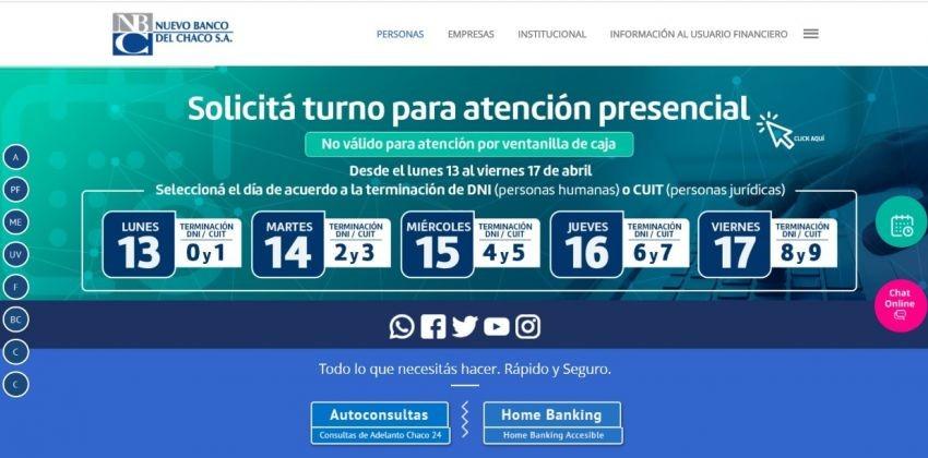 Nuevo Banco del Chaco: Desde el lunes próximo se habilitará el Sistema de Turnos Web para atenciones presenciales