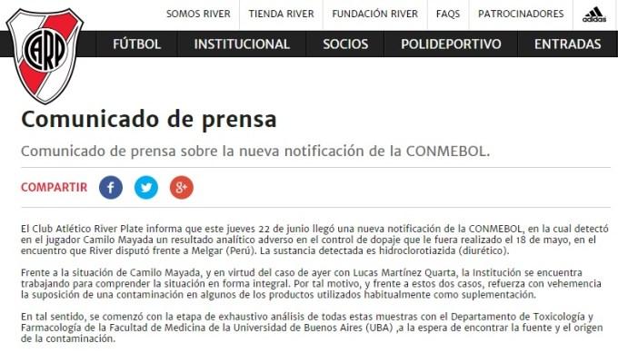 River sacó un comunicado por el escándalo del doping