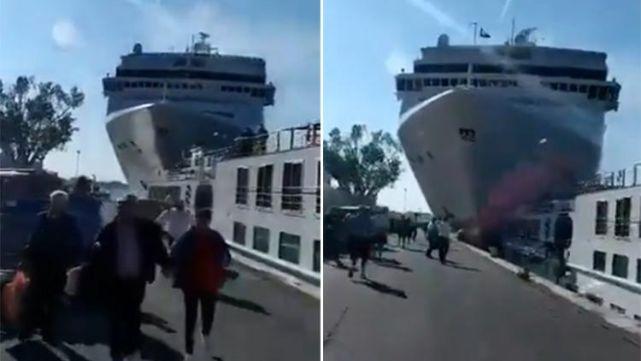 Impactantes videos: crucero chocó un barco turístico en Venecia