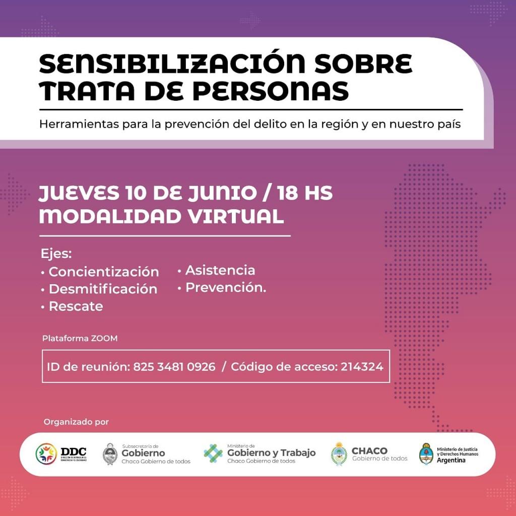 El gobierno provincial realizará una jornada de sensibilización sobre trata de personas