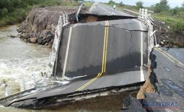 Cayó el puente del arroyo Ibirí Cuá sobre la Ruta 12 y hay alerta por otros tramos
