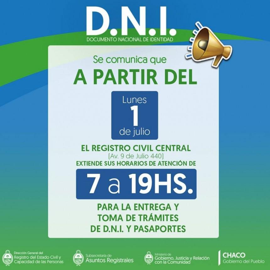 EL REGISTRO CIVIL CENTRAL EXTENDIÓ SU HORARIO DE ATENCIÓN