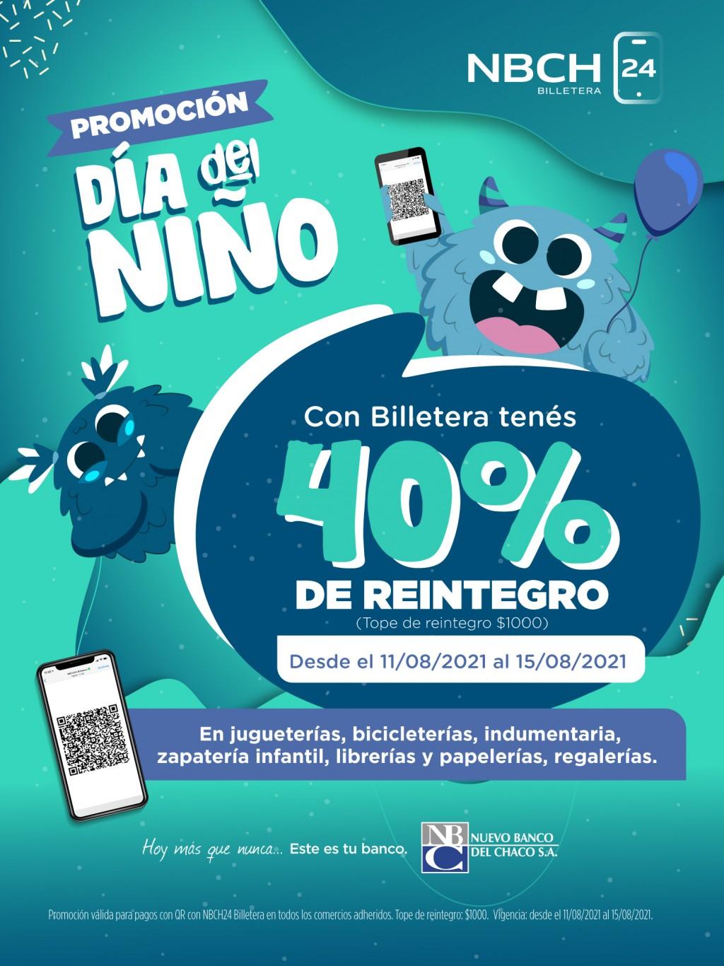 Billetera NBCH24: 40% de reintegro por el Día de la niñez