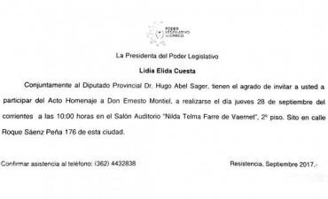 Acto Homenaje a la memoria y legado cultural que dejara Don ERNESTO MONTIEL