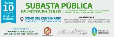 El municipio llama a subasta pública de 89 motovehículos
