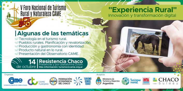 Chaco será sede del 5° Foro Nacional de Turismo Rural y Naturaleza: