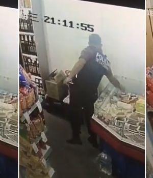 Sorprendieron a policía robando bandeja de fiambre en súper chino