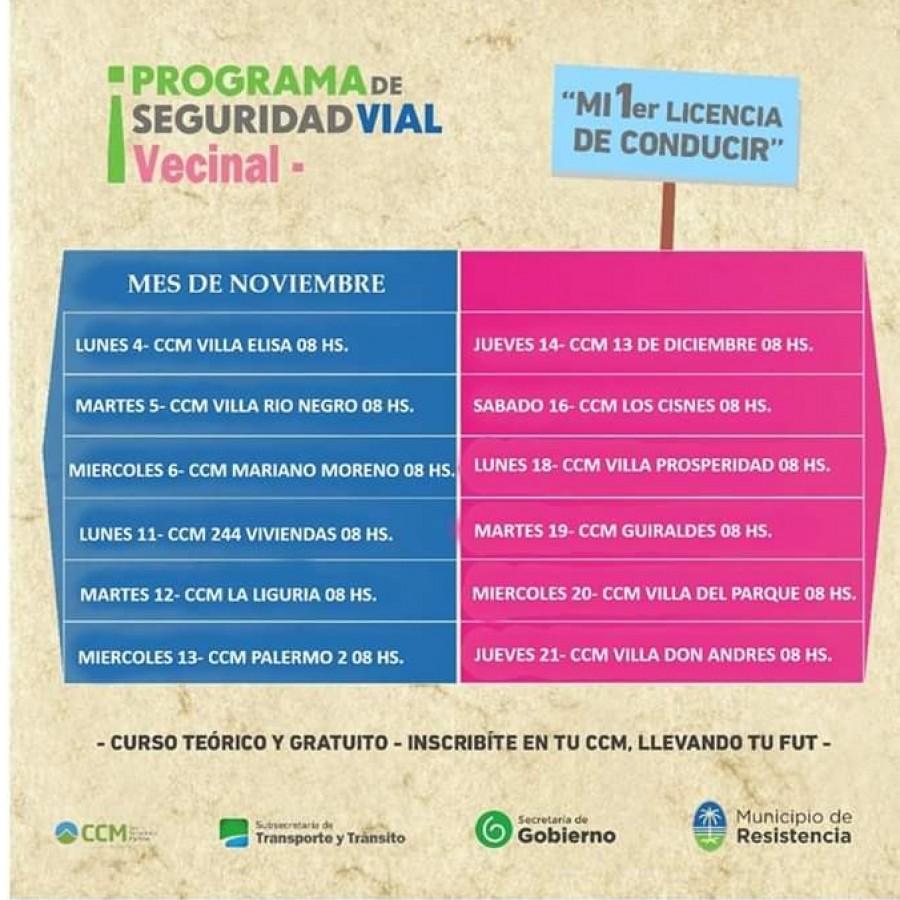 Cronograma del Programa Mi Primer Licencia para el mes de noviembre