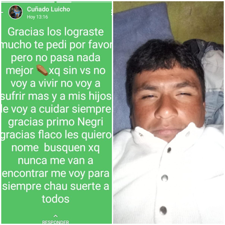 Buscan a Luis Díaz de 34 años, desapareció tras un fuerte mensaje en Whatsapp