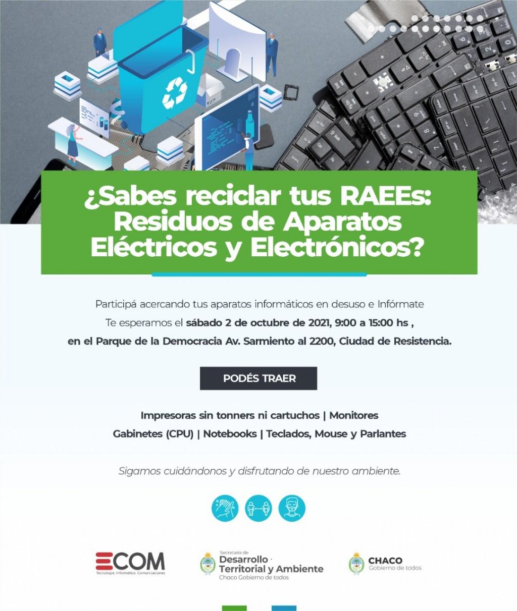 Chaco sostenible: este sábado habrá una jornada de reciclado de residuos electrónicos