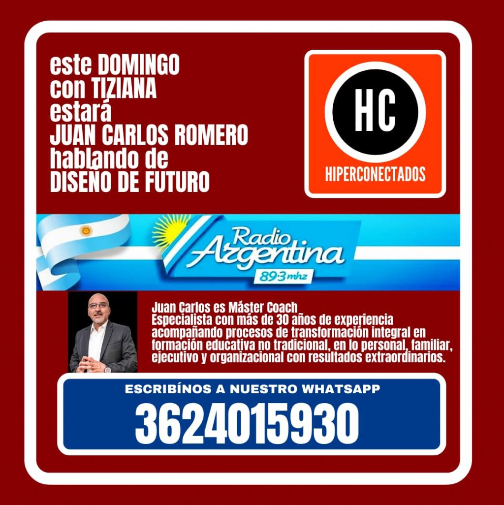 ¡En Hiperconectados este domingo con Tiziana y Juan Carlos Romero Master Coach,