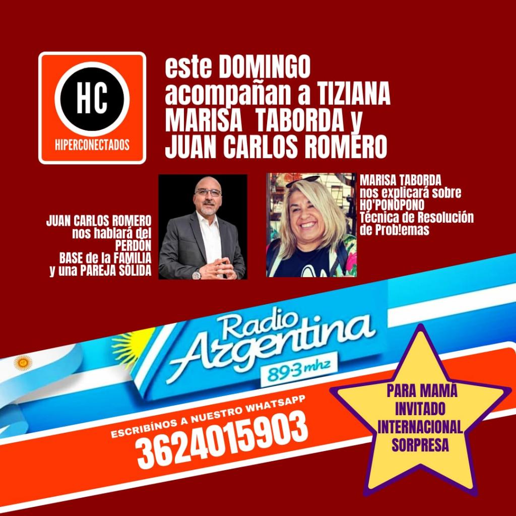 ¡En Hiperconectados, este Domingo acompañarán a Tiziana, Marisa Taborda y Juan Carlos Romero.