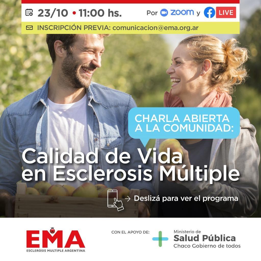 Salud pública y Ema organizan una charla virtual abierta denominada calidad de vida en esclerosis múltiple