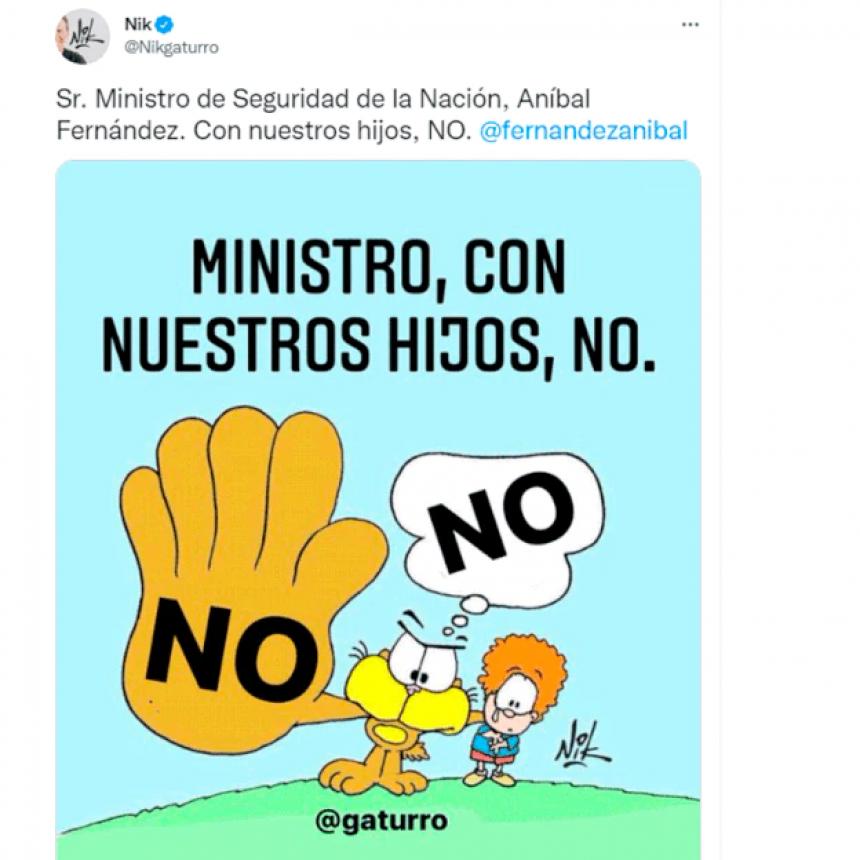 Un polémico tuit de Aníbal Fernández contra el dibujante Nik derivó en una denuncia y un pedido de disculpas