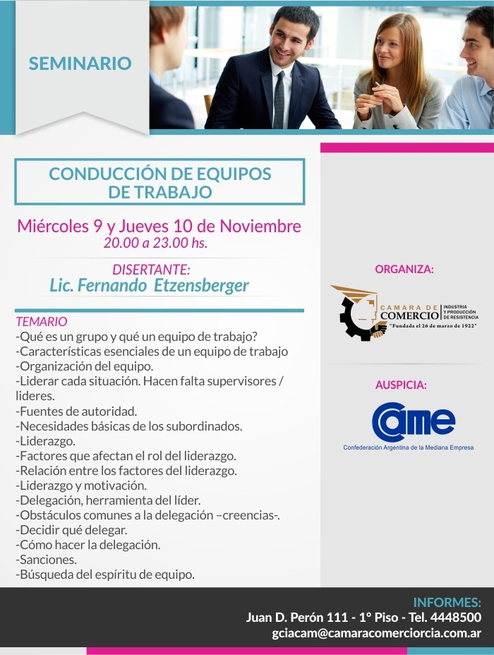 Seminario sobre Conducción de Equipos de Trabajo en Cámara de Comercio de Resistencia