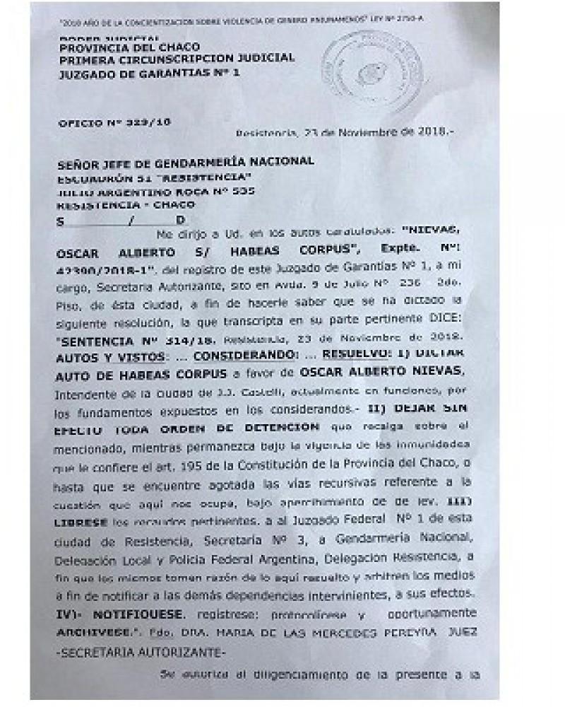El Juzgado de Garantías N° 1 dejó sin efecto la detención de Nievas