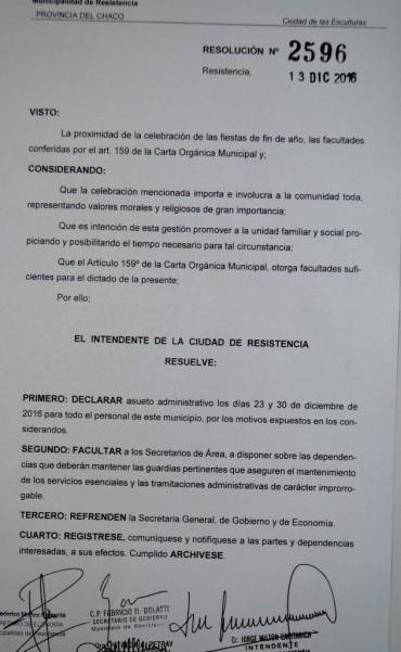 Asueto administrativo los días 23 y 30 para el personal municipal