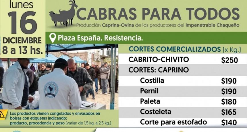 El Programa Cabras para Todos estará el lunes 16 en la Plaza España de Resistencia
